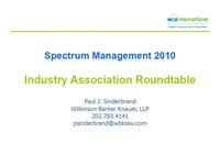 Spectrum Management 2010 Industry Association Roundtable