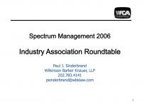 Spectrum Management 2006 Industry Association Roundtable