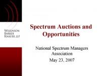 Spectrum Auctions & Opportunities