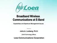 Broadband Wireless Communications at E-Band