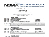 NSMA 34th Annual Conference Spectrum 2019 Tentative Speaking Order